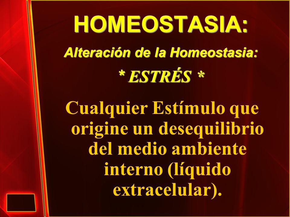 HOMEOSTASIA: Alteración de la Homeostasia: * ESTRÉS * Cualquier Estímulo que origine un desequilibrio del medio ambiente interno (líquido extracelular