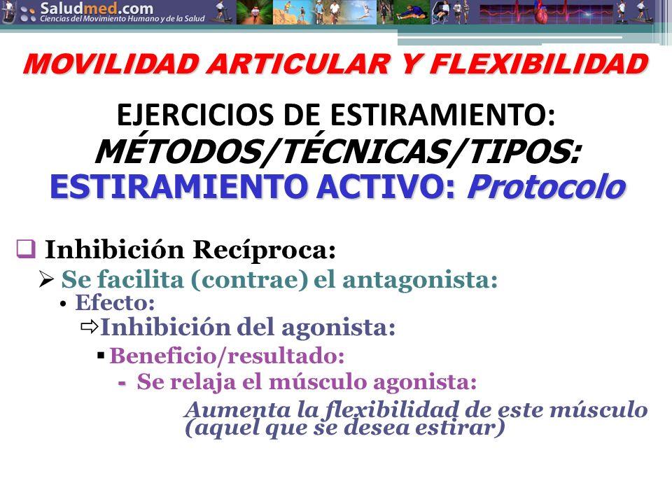 TEMA PRINCIPAL TEMA SECUNDARIO: TEMA SECUNDARIO: SUBTEMA 1: * TÓPICO HA SER DISCUTIDO * Protocolo: Recomendación: Aplicar la: Inhibición Recíproca (Inhibición del Antagonista): Beneficio/resultado: - - Un estiramiento más efectivo: Explicación fisiológica: Un músculo agonista se acorta cuando su anatgonista es más débil: » Efecto: Esto previene un balance entre los dos (agonista y antagonista): o Resultado: Pérdida en el arco de movimiento