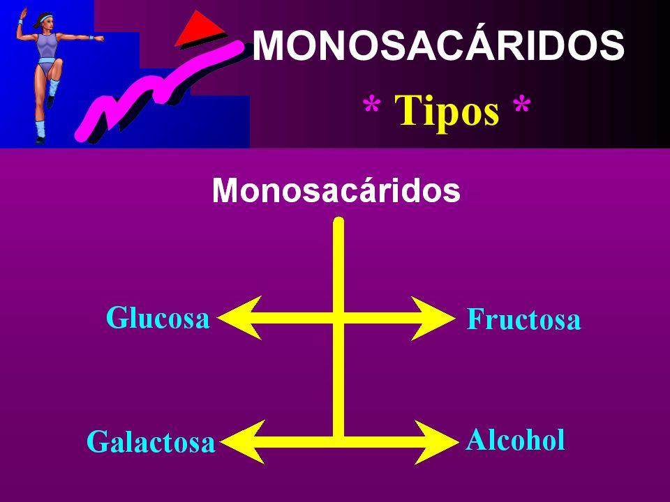 MONOSACÁRIDOS * Concepto * Es la Forma más Simple de los Hidratos de Carbono (Una Sola Molécula de Azúcar)