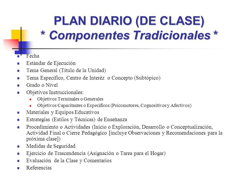PLAN DIARIO (DE CLASE) * Componentes Tradicionales * Fecha Estándar de Ejecución Tema General (Título de la Unidad) Tema Específico, Centro de Interéz