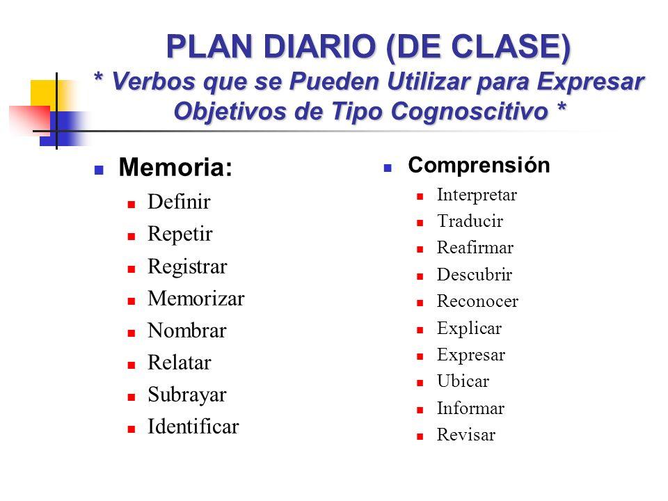PLAN DIARIO (DE CLASE) * Verbos que se Pueden Utilizar para Expresar Objetivos de Tipo Cognoscitivo * Memoria: Definir Repetir Registrar Memorizar Nom
