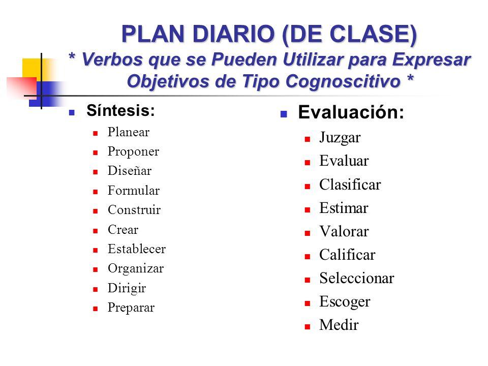 PLAN DIARIO (DE CLASE) * Verbos que se Pueden Utilizar para Expresar Objetivos de Tipo Cognoscitivo * Síntesis: Planear Proponer Diseñar Formular Cons