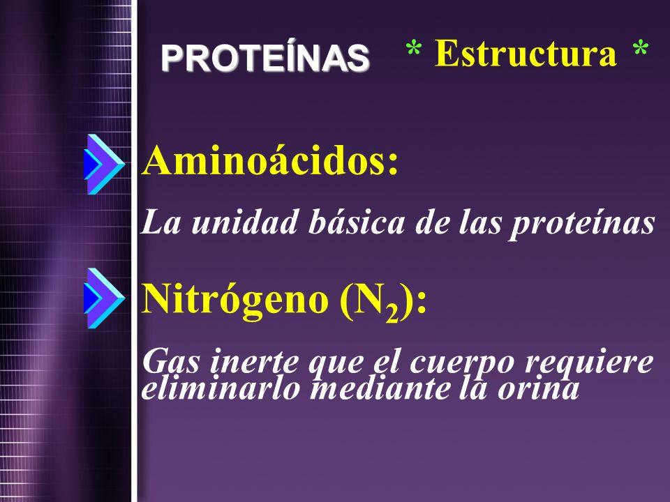 PROTEÍNAS Aminoácidos: La unidad básica de las proteínas Nitrógeno (N 2 ): Gas inerte que el cuerpo requiere eliminarlo mediante la orina