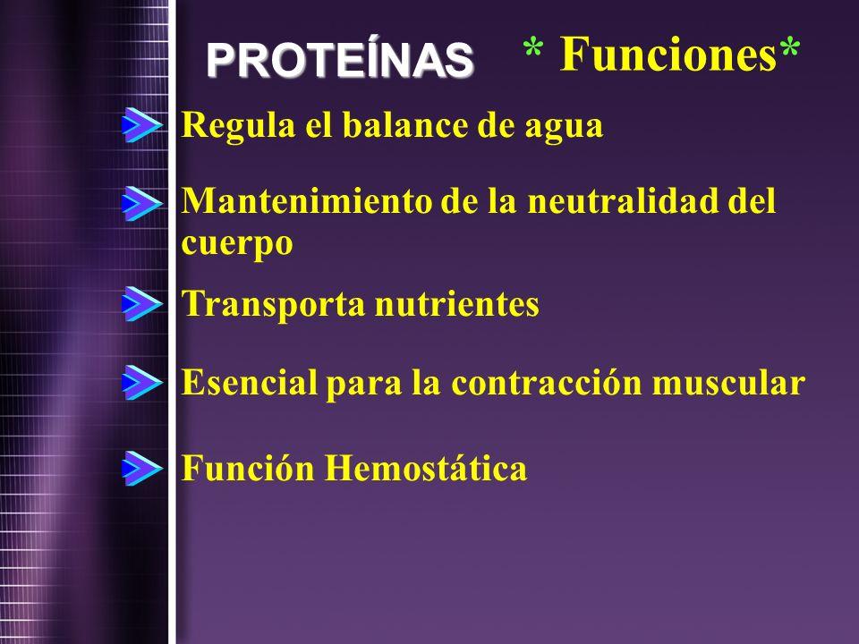 PROTEÍNAS Regula el balance de agua Mantenimiento de la neutralidad del cuerpo Transporta nutrientes Esencial para la contracción muscular Función Hem