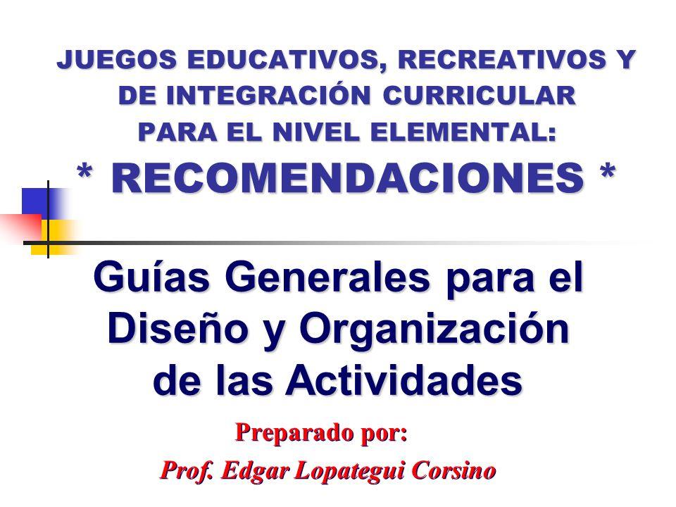 Preparado por: Prof. Edgar Lopategui Corsino Preparado por: Prof. Edgar Lopategui Corsino Guías Generales para el Diseño y Organización de las Activid