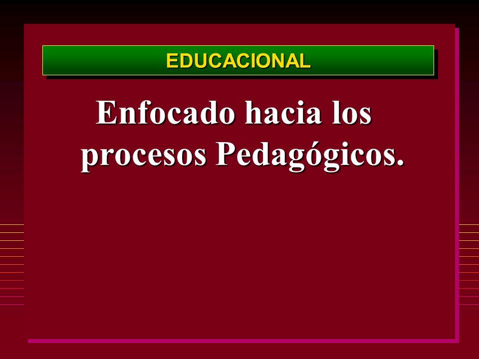 EDUCACIONALEDUCACIONAL Enfocado hacia los procesos Pedagógicos.