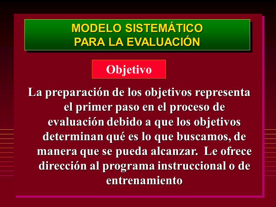 MODELO SISTEMÁTICO PARA LA EVALUACIÓN MODELO SISTEMÁTICO PARA LA EVALUACIÓN Objetivo La preparación de los objetivos representa el primer paso en el p