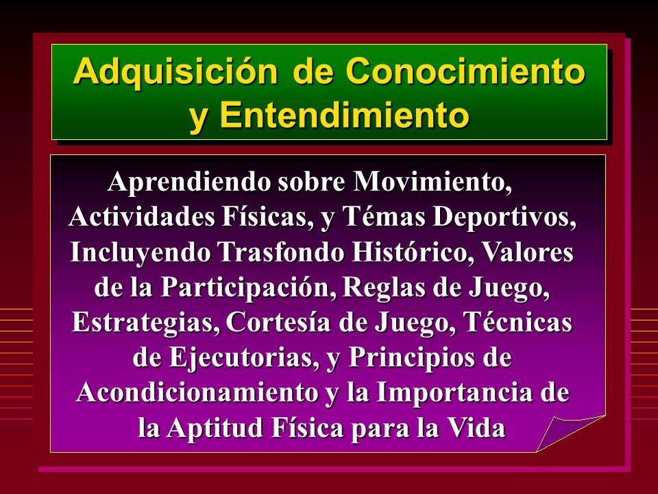 Adquisición de Conocimiento y Entendimiento Aprendiendo sobre Movimiento, Actividades Físicas, y Témas Deportivos, Incluyendo Trasfondo Histórico, Val