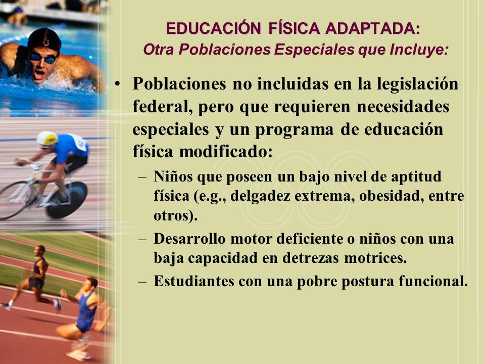 EDUCACIÓN FÍSICA ADAPTADA: EDUCACIÓN FÍSICA ADAPTADA: En Conformidad con la Ley IDEA: Los estudiantes con incapacidades se les debe ofrecer un: –(edades de 3-21 años): Programa de educación individualizada.