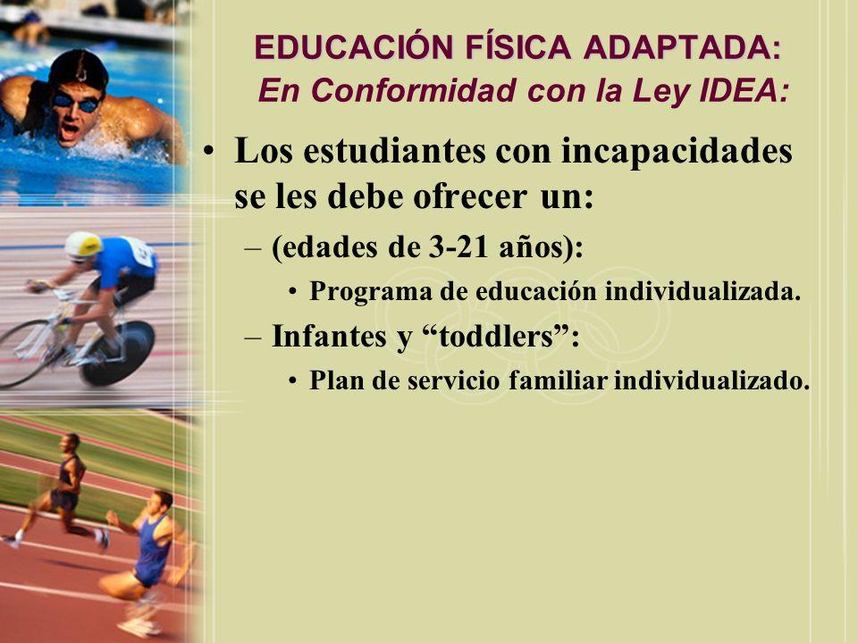 EDUCACIÓN FÍSICA ADAPTADA: EDUCACIÓN FÍSICA ADAPTADA: En Conformidad con la Ley IDEA: Los estudiantes con incapacidades se les debe ofrecer un: –(edad