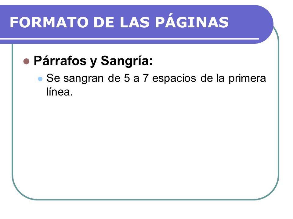 ORDEN DE LA MONOGRAFÍA Título de la página (Portadas): Página separada, página 1.