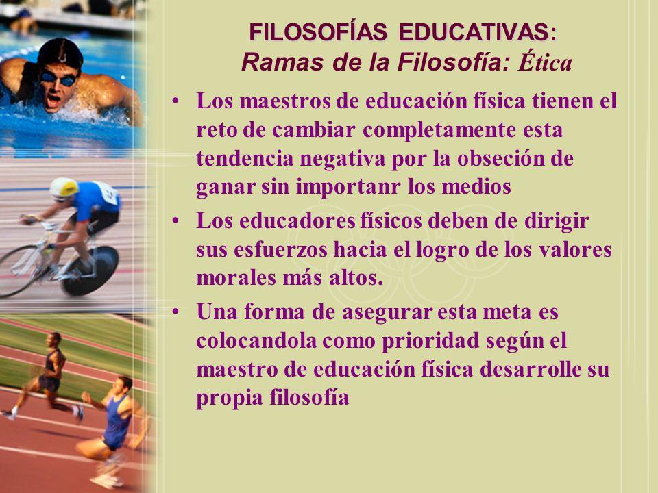 FILOSOFÍAS EDUCATIVAS: FILOSOFÍAS EDUCATIVAS: Ramas de la Filosofía: Ética Los maestros de educación física tienen el reto de cambiar completamente es