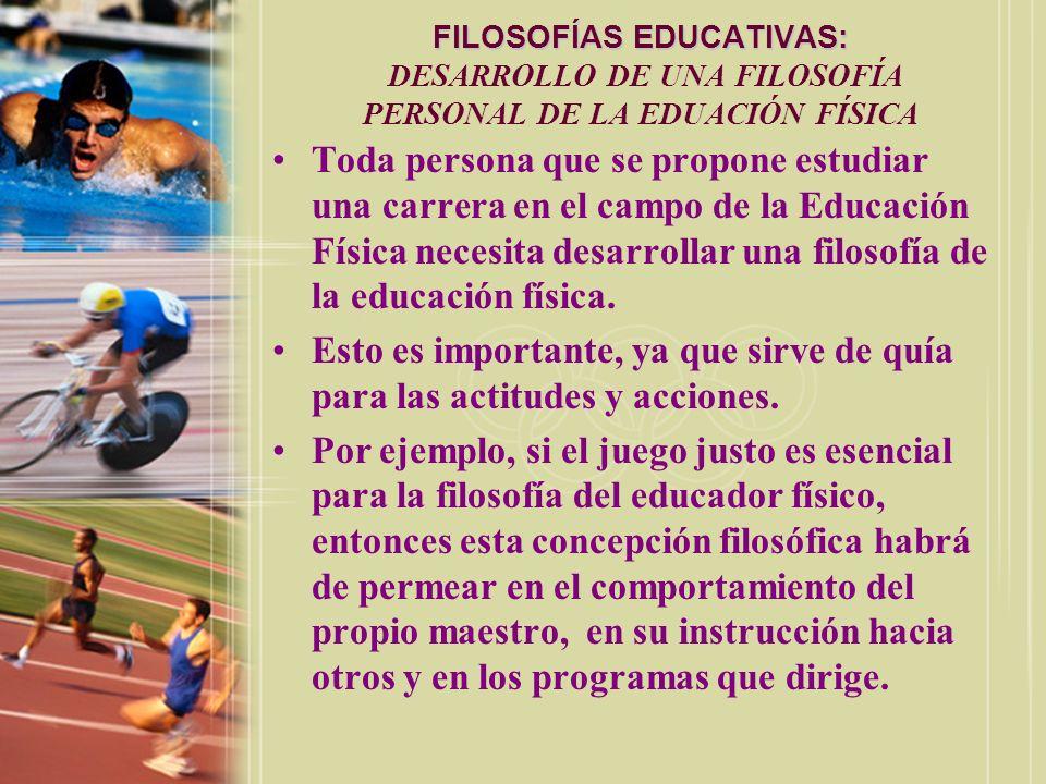 FILOSOFÍAS EDUCATIVAS: FILOSOFÍAS EDUCATIVAS: DESARROLLO DE UNA FILOSOFÍA PERSONAL DE LA EDUACIÓN FÍSICA Toda persona que se propone estudiar una carr