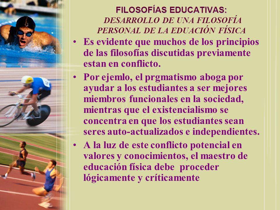 FILOSOFÍAS EDUCATIVAS: FILOSOFÍAS EDUCATIVAS: DESARROLLO DE UNA FILOSOFÍA PERSONAL DE LA EDUACIÓN FÍSICA Es evidente que muchos de los principios de l
