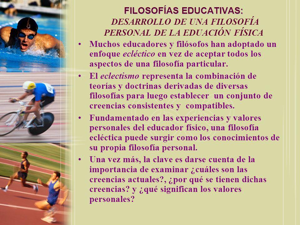 FILOSOFÍAS EDUCATIVAS: FILOSOFÍAS EDUCATIVAS: DESARROLLO DE UNA FILOSOFÍA PERSONAL DE LA EDUACIÓN FÍSICA Muchos educadores y filósofos han adoptado un