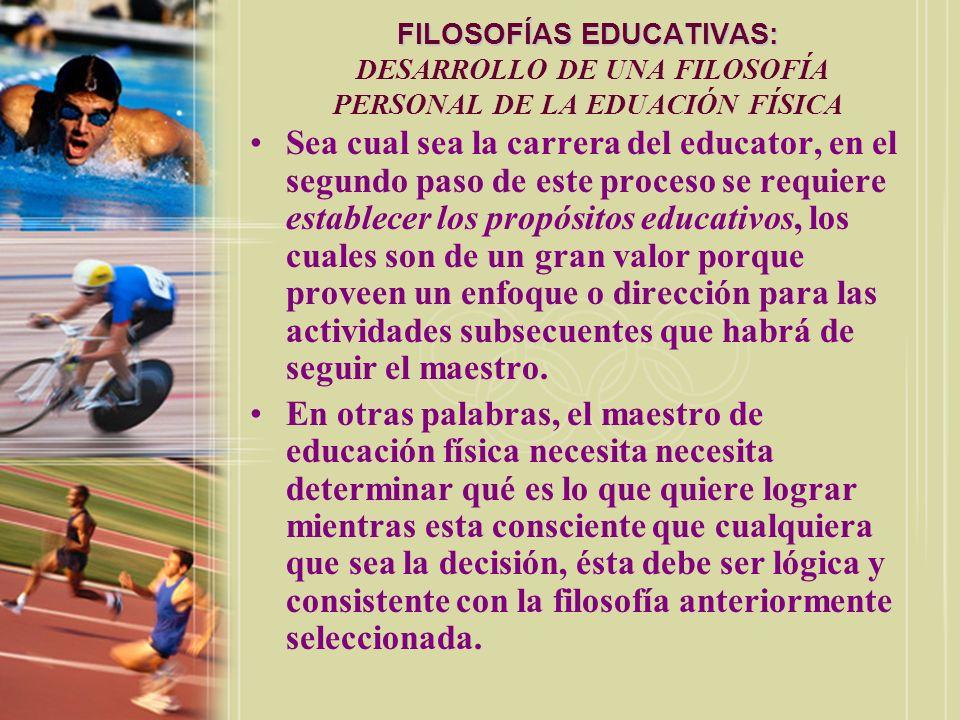 FILOSOFÍAS EDUCATIVAS: FILOSOFÍAS EDUCATIVAS: DESARROLLO DE UNA FILOSOFÍA PERSONAL DE LA EDUACIÓN FÍSICA Sea cual sea la carrera del educator, en el s