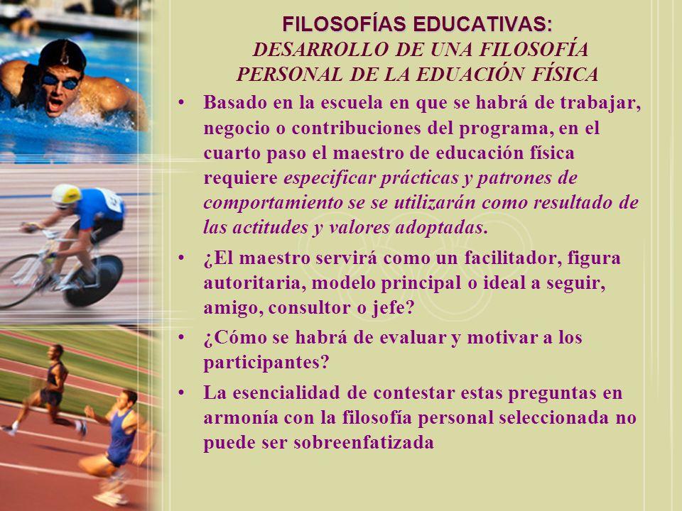 FILOSOFÍAS EDUCATIVAS: FILOSOFÍAS EDUCATIVAS: DESARROLLO DE UNA FILOSOFÍA PERSONAL DE LA EDUACIÓN FÍSICA Basado en la escuela en que se habrá de traba