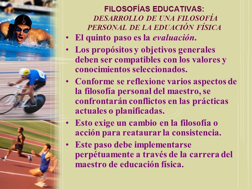 FILOSOFÍAS EDUCATIVAS: FILOSOFÍAS EDUCATIVAS: DESARROLLO DE UNA FILOSOFÍA PERSONAL DE LA EDUACIÓN FÍSICA El quinto paso es la evaluación. Los propósit