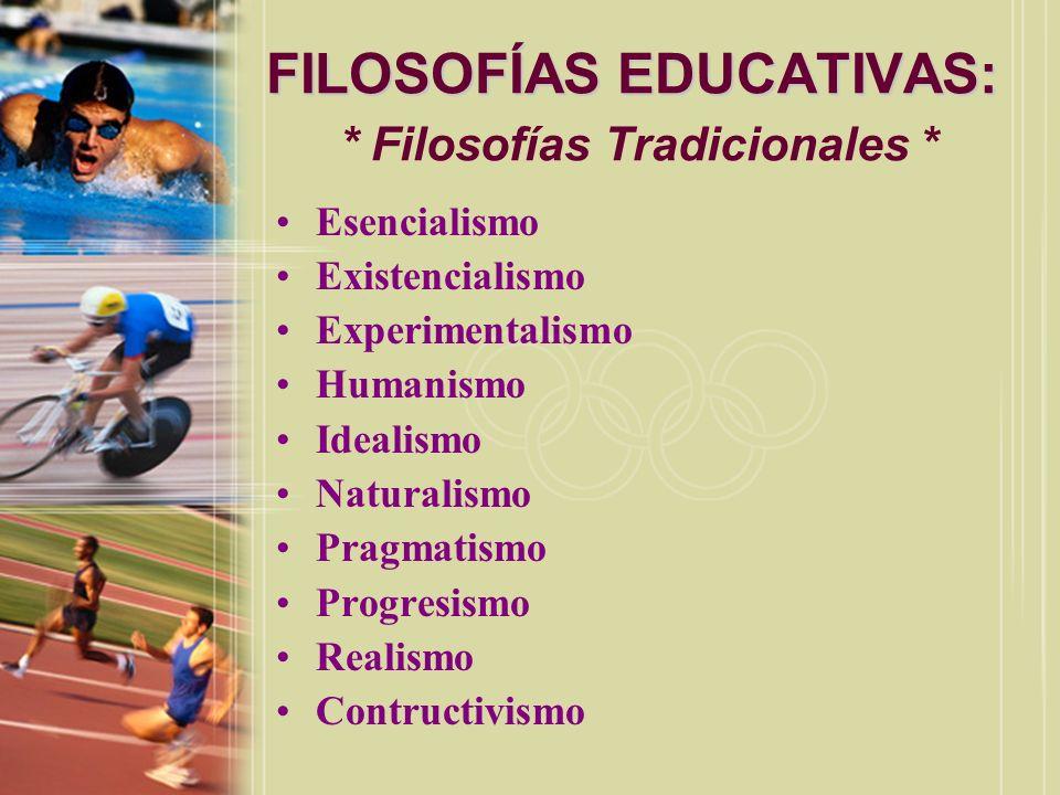 FILOSOFÍAS EDUCATIVAS: FILOSOFÍAS EDUCATIVAS: * Filosofías Tradicionales * Esencialismo Existencialismo Experimentalismo Humanismo Idealismo Naturalis