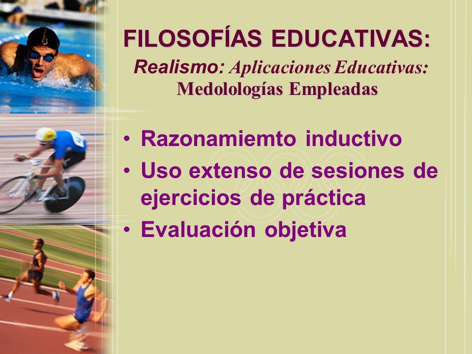FILOSOFÍAS EDUCATIVAS: Medolologías Empleadas FILOSOFÍAS EDUCATIVAS: Realismo: Aplicaciones Educativas: Medolologías Empleadas Razonamiemto inductivo