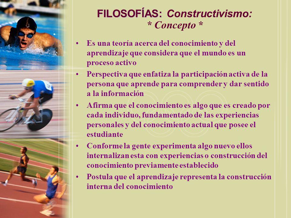 FILOSOFÍAS: FILOSOFÍAS: Constructivismo: * Concepto * Es una teoría acerca del conocimiento y del aprendizaje que considera que el mundo es un proceso