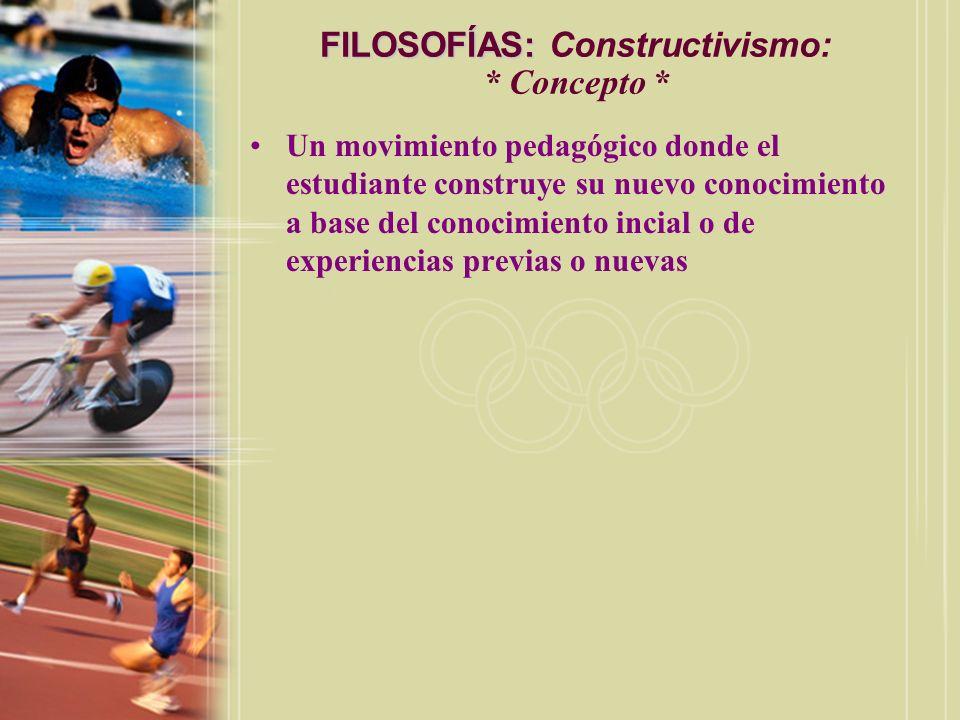 FILOSOFÍAS: FILOSOFÍAS: Constructivismo: * Concepto * Un movimiento pedagógico donde el estudiante construye su nuevo conocimiento a base del conocimi