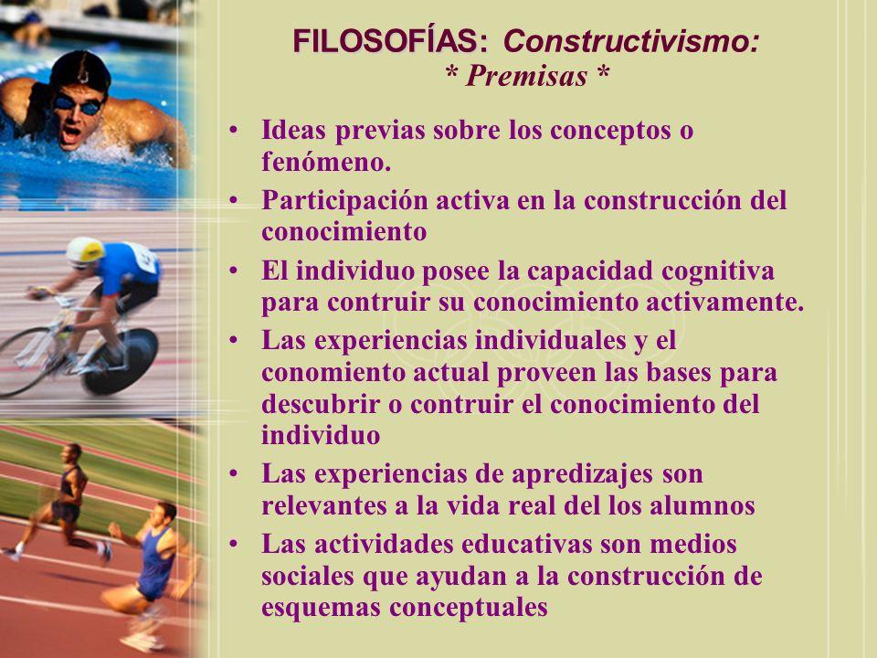 FILOSOFÍAS: FILOSOFÍAS: Constructivismo: * Premisas * Ideas previas sobre los conceptos o fenómeno. Participación activa en la construcción del conoci