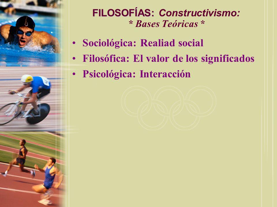 FILOSOFÍAS: FILOSOFÍAS: Constructivismo: * Bases Teóricas * Sociológica: Realiad social Filosófica: El valor de los significados Psicológica: Interacc
