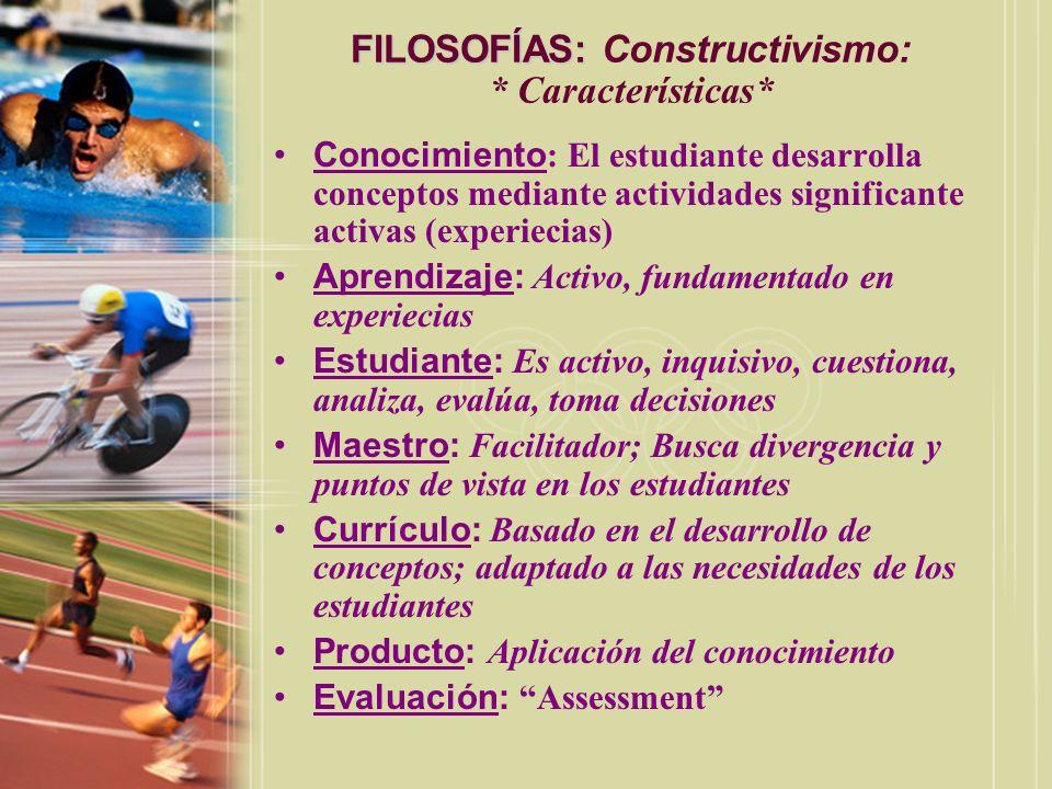 Conocimiento : El estudiante desarrolla conceptos mediante actividades significante activas (experiecias) Aprendizaje: Activo, fundamentado en experie
