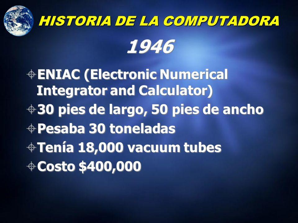 HISTORIA DE LA COMPUTADORA Modelo de VonNeumann Entrada Almacenamiento para los resultados e instrucciones Procesamiento (unidad aritmética) Unidad de