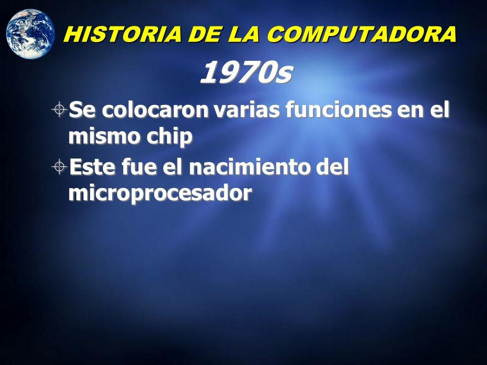 HISTORIA DE LA COMPUTADORA 1960s Se desarrollo el Circuito Integrado Drásticamente redujo el tamaño de las computadoras Se desarrollo el Circuito Inte