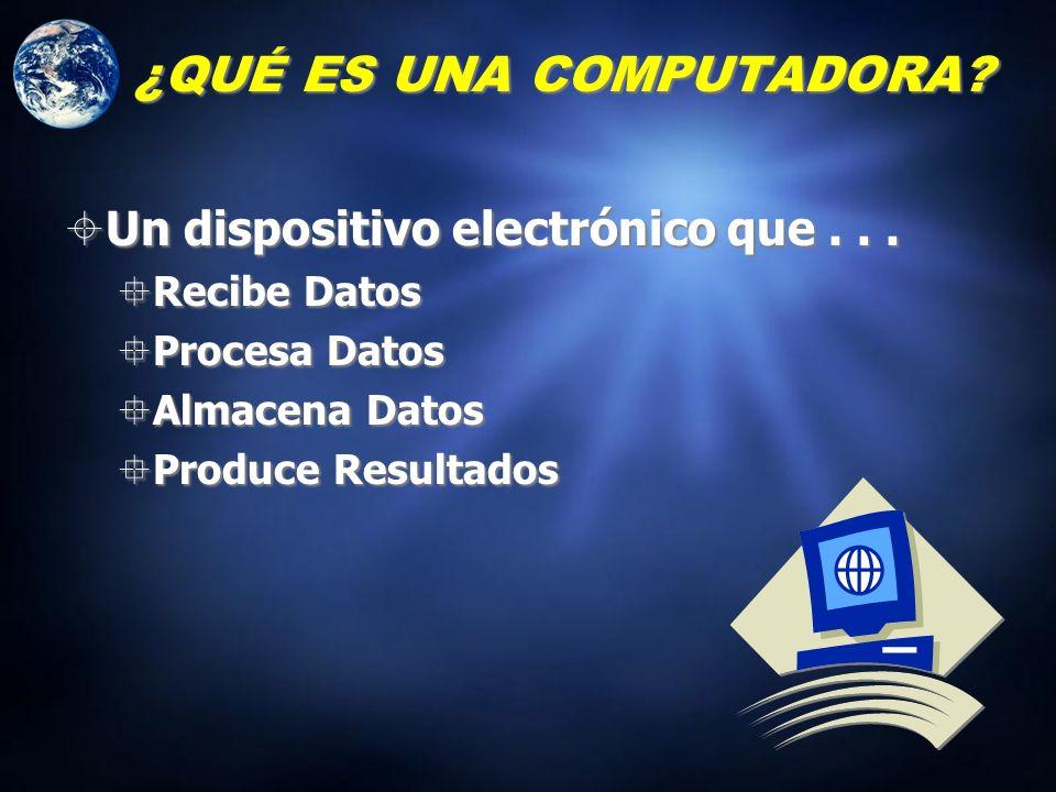 ¿Cómo se define una computadora? ¿QUÉ ES UNA COMPUTADORA? Un dispositivo electrónico que opera bajo el control de instrucciones almacenadas en su prop