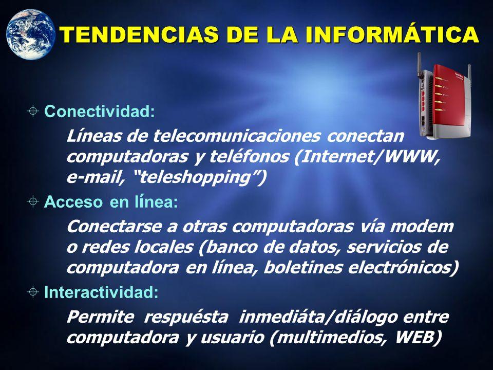 TIPOS DE COMPUTADORAS Computadora personal/microcomputadoras: Escritorio, torre, workstations, computadoras en red, laptops, notebooks, handheld, palm