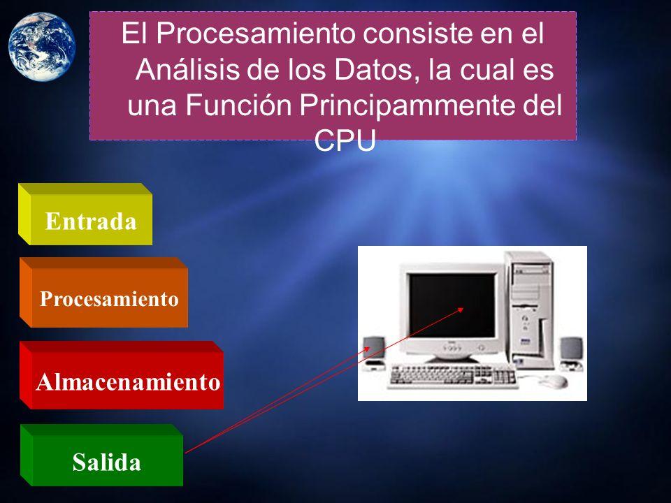 El Procesamiento consiste en el Análisis de los Datos, la cual es una Función Principammente del CPU Entrada Procesamiento Almacenamiento Salida