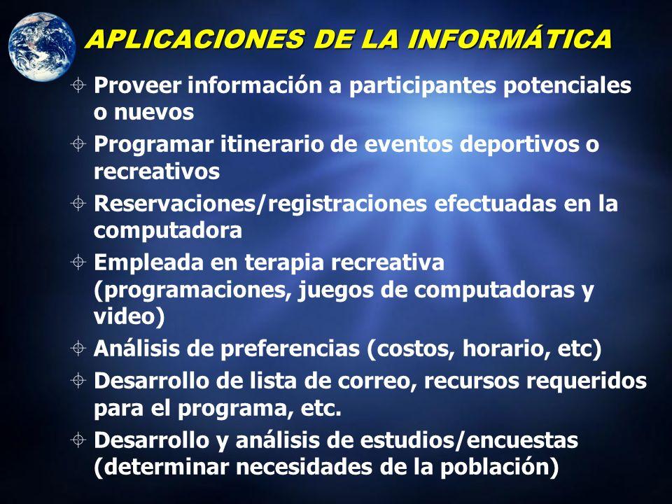 Aplicaciones para la Administraci ó n de los Servicios Recreativos Análisis de sondeos comunitarios, avalúo de necesidades, y otros procesamientos de