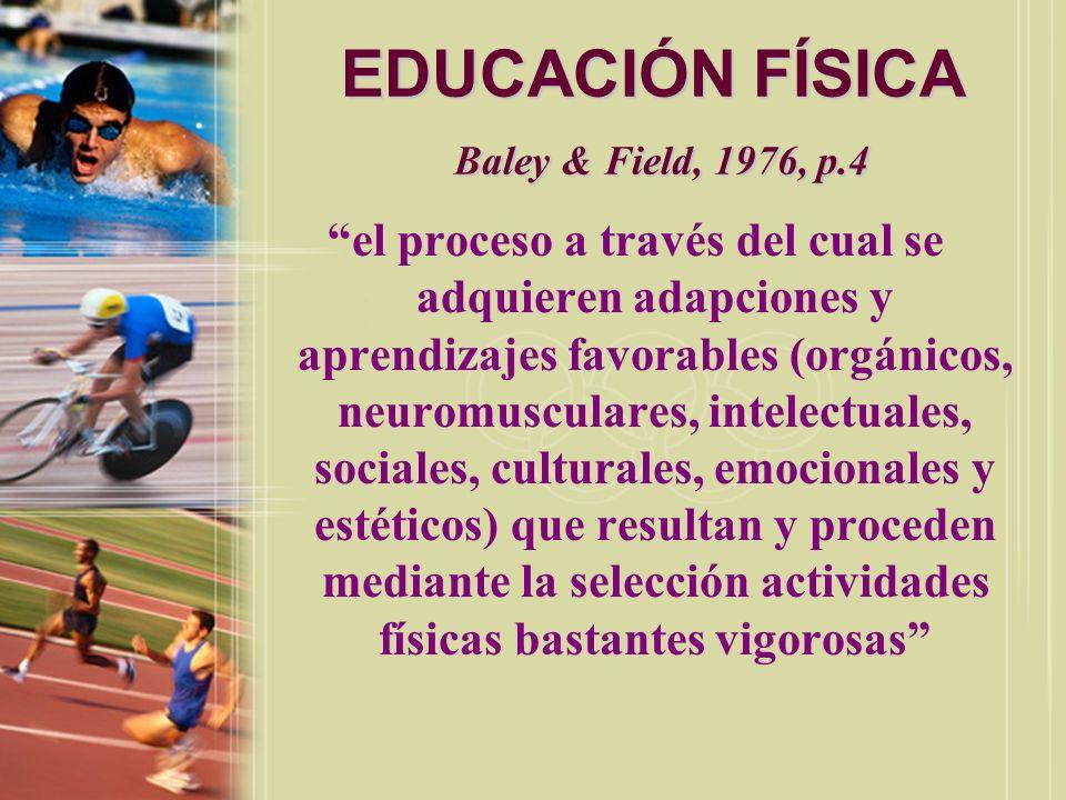 EDUCACIÓN FÍSICA Lumpkin, 1986, p.9 un proceso a través del cual un individuo obtiene destrezas óptimas físicas, mentales y sociales y aptitud física a través de la actividad física