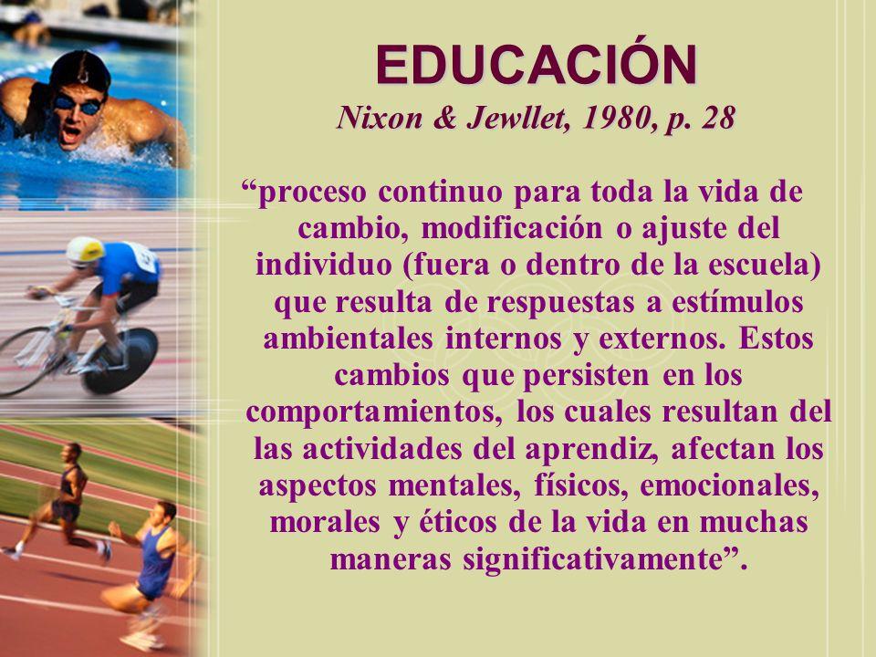 EDUCACIÓN Y EDUCACIÓN FÍSICA Nixon & Jewllet, 1980, p.