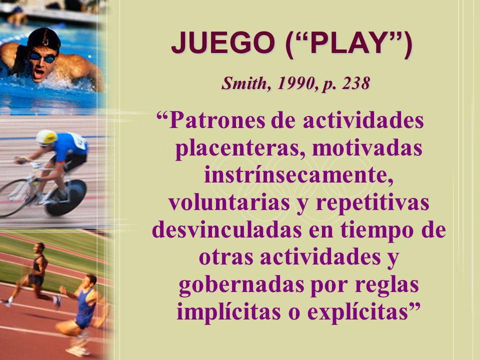 JUGAR (PLAY) Freeman, 1982, p.5 aquella actividad dirigida hacia la diversión.