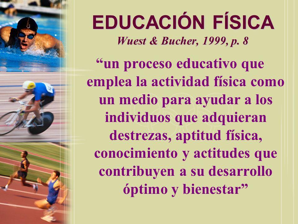 EDUCACIÓN FÍSICA Bucher La educación física es una parte integral del proceso total educativo y que tiene como propósito el desarrollo de ciudadanos física, mental, emocional y socialmente sanos, a través del medio de las actividades físicas que se hayan seleccionado con vista a lograr estos resultados.