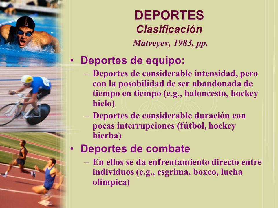 DEPORTES Matveyev, 1983, pp.DEPORTES Clasificación Matveyev, 1983, pp.