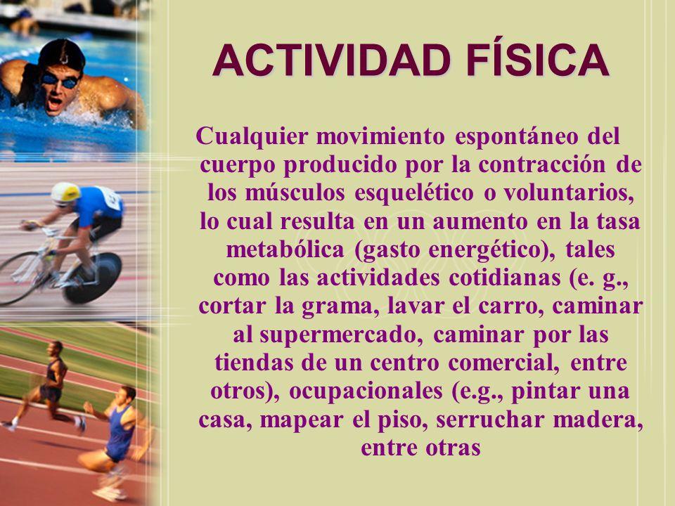 EJERCICIO Aquella actividad física que se lleva a camo en forma estructurada, organizada, planificada y repititiva, la cual tiene como propósito mejorar o mantener la aptitud física