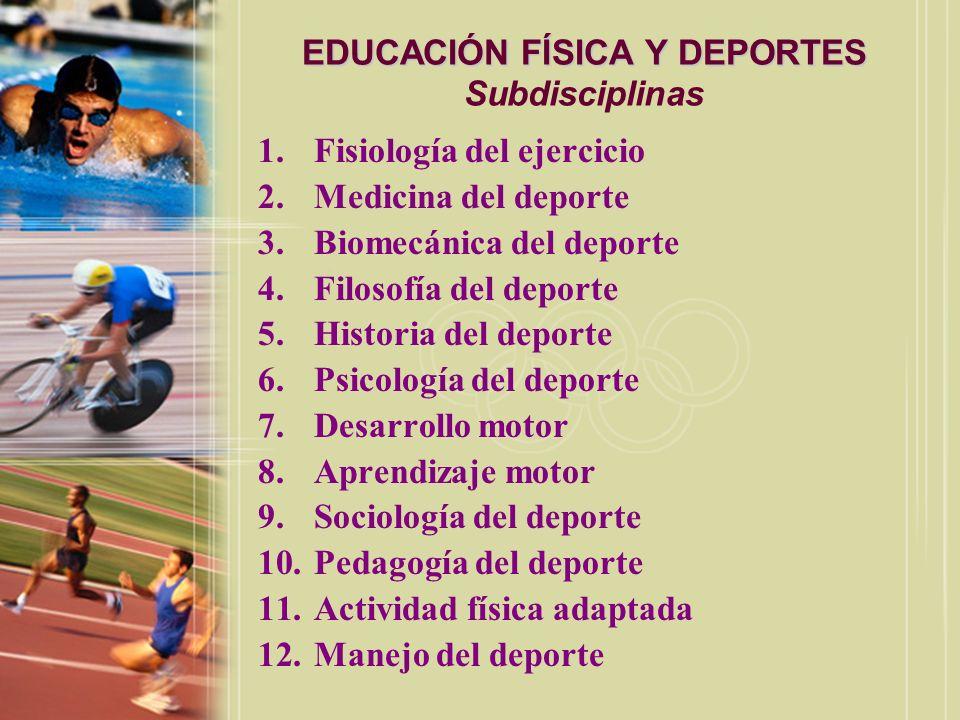 EDUCACIÓN FÍSICA Y DEPORTES EDUCACIÓN FÍSICA Y DEPORTES Subdisiplinas Fisiología del Ejercicio: –Representa el estudio de los efectos de varias demandas físicas (particularmente el ejercicio) sobre la estructura y función del cuerpo.