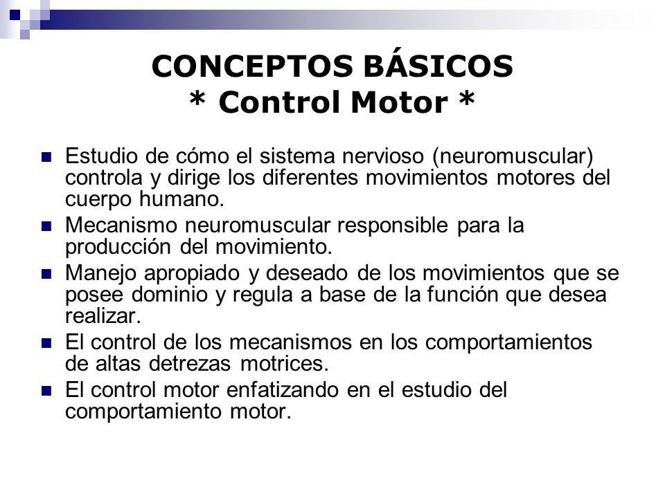 CONCEPTOS BÁSICOS * Control Motor * Estudio de cómo el sistema nervioso (neuromuscular) controla y dirige los diferentes movimientos motores del cuerp