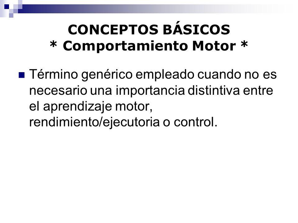 CONCEPTOS BÁSICOS * Comportamiento Motor * Término genérico empleado cuando no es necesario una importancia distintiva entre el aprendizaje motor, ren