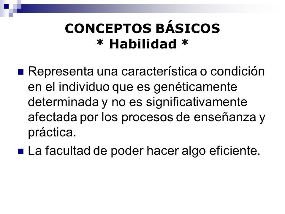 CONCEPTOS BÁSICOS * Habilidad * Representa una característica o condición en el individuo que es genéticamente determinada y no es significativamente