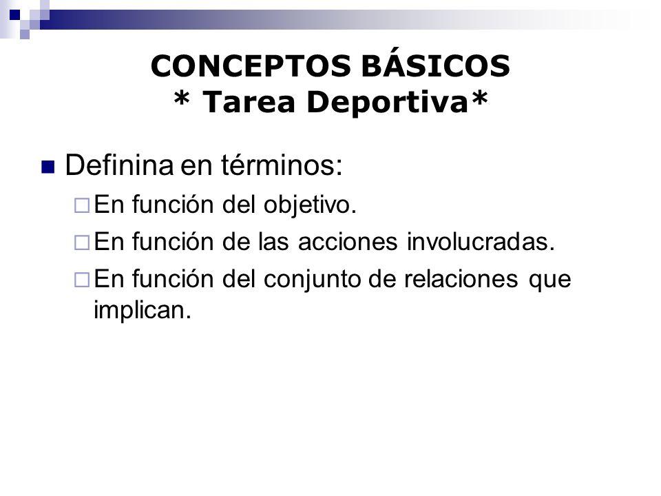 CONCEPTOS BÁSICOS * Tarea Deportiva* Definina en términos: En función del objetivo. En función de las acciones involucradas. En función del conjunto d