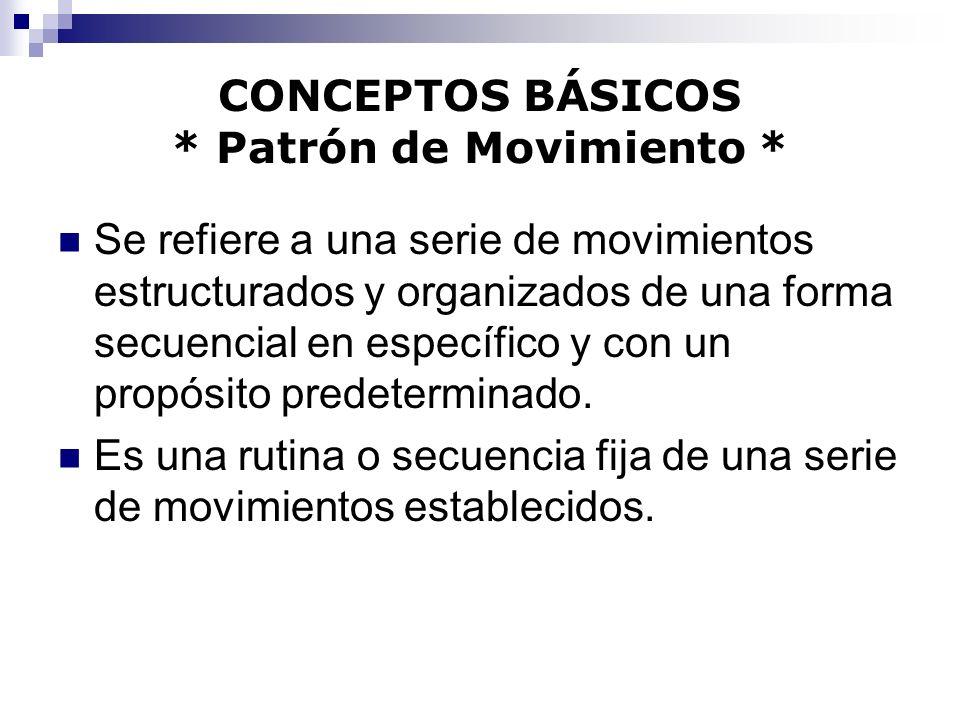 CONCEPTOS BÁSICOS * Patrón de Movimiento * Se refiere a una serie de movimientos estructurados y organizados de una forma secuencial en específico y c