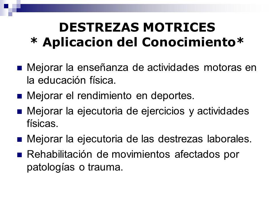 DESTREZAS MOTRICES * Aplicacion del Conocimiento* Mejorar la enseñanza de actividades motoras en la educación física. Mejorar el rendimiento en deport