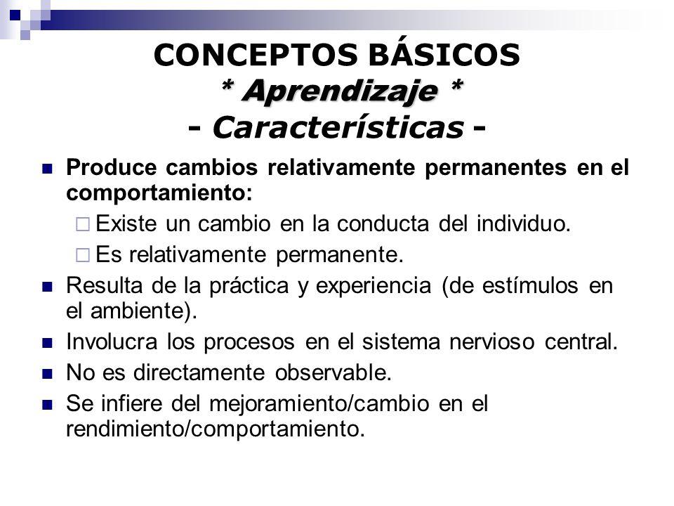 * Aprendizaje * CONCEPTOS BÁSICOS * Aprendizaje * - Características - Produce cambios relativamente permanentes en el comportamiento: Existe un cambio