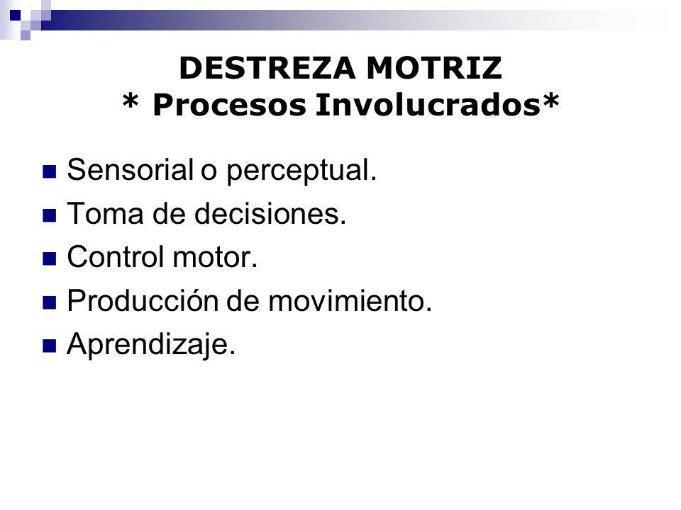 DESTREZA MOTRIZ * Procesos Involucrados* Sensorial o perceptual. Toma de decisiones. Control motor. Producción de movimiento. Aprendizaje.